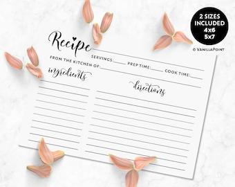 Recipe Cards For Bridal Shower Recipe Cards Rustic Recipe Cards Printable Recipe Cards 4x6, 5x7, Kitchen Bridal Shower Recipe Card Template