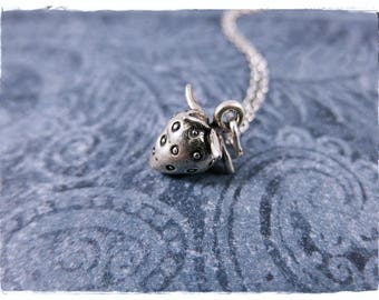 Silver Strawberry Necklace - Sterling Silver Strawberry Charm on a Delicate Sterling Silver Cable Chain or Charm Only