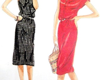 Vogue 7682 Strapless or Cap Sleeved Slinky Dress Size 10 Vintage 1970s 1980s