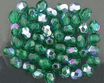25 green  ab czech fire crystal beads 4mm