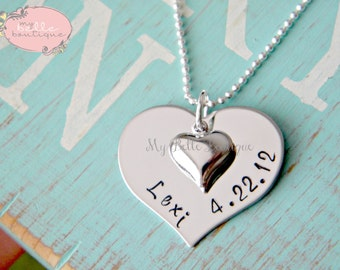 Personalized Hand Stamped Heart Shaped Necklace with Puffy Silver Tone Heart Charm