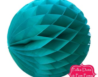29cm TEAL Tissue Paper Honeycomb Balls / LARGE / Birthday Party Decoration Ideas / Wedding / Baby Shower
