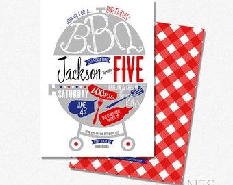 Birthday BBQ Invitation | Summer Barbecue Invitation | Digital BBQ Birthday Invite | Adult BBQ Birthday | Memorial Day Birthday Invite | 5X7
