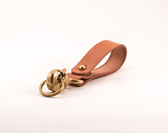 Japanese Bridle Leather Belt Keychain Solid Japanese Brass Clasp and Stud