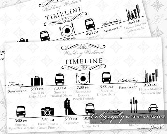 DIY Printable Wedding Timeline Template | Printable Wedding Weekend  Itinerary | Calligraphy In Black U0026 Smoke