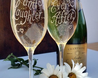 Etched Wedding glasses