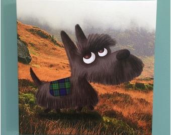 Canvas Print Scottish Terrier Dog Illustration Art