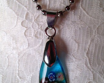 Teardrop Glass Necklace on Ball Chain
