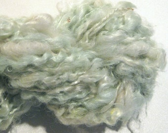 Mini Skein Lockspun Super Bulky pale mint handspun yarn 30 yards mohair locks spiral art yarn knitting supplies crochet supplies doll hair