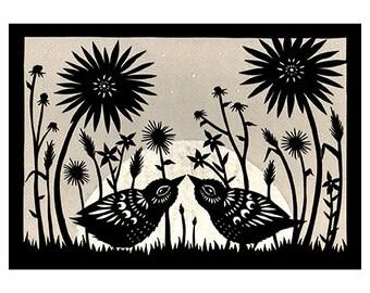 By A Summer Moon - 5 x 7 inch Cut Paper Art Print