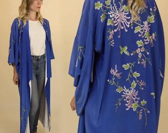 SALE***Vintage Royal Blue, Japanese Floral Embroidered, Silk Maxi Kimono