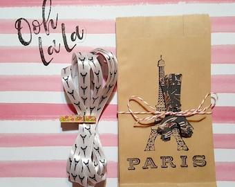 Kraft brown sacks, Eiffel Tower, Paris, paper bag sets, Eiffel Tower paper punch, Eiffel Tower ribbon, junk journals, paper crafts