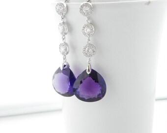 Amethyst Earrings, Purple Statement Wedding Earrings, Wedding Teardrop Earrings, Gemstone Earrings, Bridal Statement Earrings, Bridal Earing
