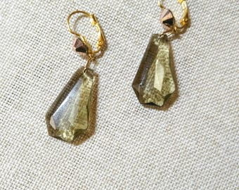 ZELDA Golden and grey earrings smoky quartz