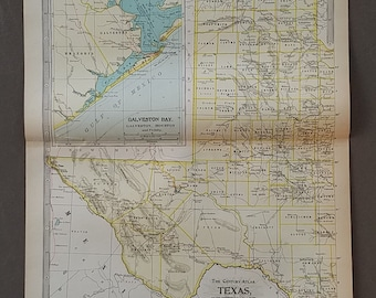 Texas Map, Texas State Map,2 Pieces,Dallas San Antonio Houston East West Parts State Map,Vintage USA Atlas State Maps,1900 10x15