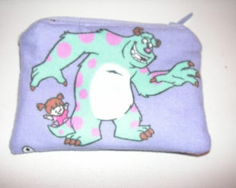 Monster Inc University Mike Boo handmade zipper fabric coin change purse card holder