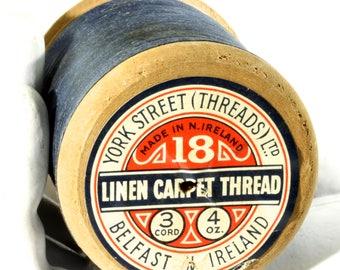 Vintage Wooden Industrial Sewing Machine Bobbin Spool - Navy Blue Linen Carpet Thread - Wooden Thread Spool - Belfast Ireland Textile