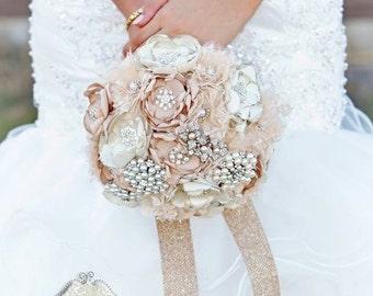 Champagene Wedding Brooch Bouquet/ HandMade Cream Lace Pearl Bouquet/Lace Bridal Brooch Bouquet/Rhinestone Bridal Brppch Bouquet