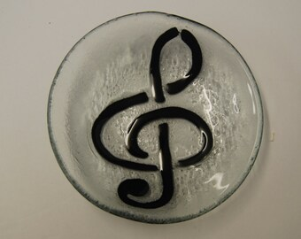 Fused art glass dish with a TREBLE CLEF  design