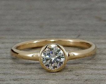 Moissanite Engagement Ring - Recycled 14k Yellow Gold and Forever One G-H-I Moissanite - Diamond Alternative, Conflict-Free - Made To Order