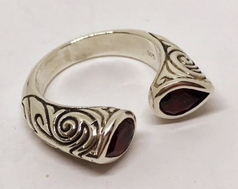 Unique Vintage Cuff Ring Sterling Silver with Garnet Colored Stones Size 8-1/2