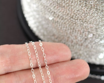 Silver Chain, Sterling Silver Flat Cable Chain Diamond Cut, 10, 30, 50 or 100 Feet - Wholesale 35% Off SS009