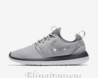 Bling Swarovski Nike Women's Roshe Two Grey Shoes with Beautiful Swarovski  Crystals! Sparkly Nike Customized