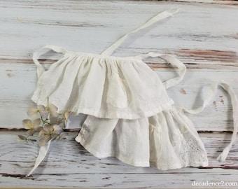 Shabby pretty Linen Apron for Blythe Doll- Upcycled Linen Handkerchief, White Linen