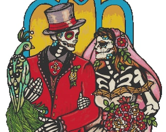 Modern Cross Stitch Kit, 'Wedding Couple', Illustrated Ink - Day of the Dead Tattoo, Needle Craft Pattern with DMC Materials, Counted Stitch