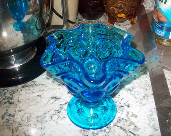 Antique Vintage Glass,  L. E. Smith, Moon & Star,  Turquoise Blue,  Compote, Small