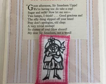 Little Jumping Joan Hand Made Brooch Textile Art Gift Card Original Artist Design Machine Embroidery Vintage Book Poetry Scrapbook Paper
