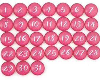 31 Taffy Pink Calendar Number Glass Magnets - NEW!
