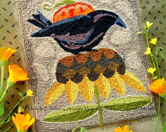 Sunny Perch Crow Sunflower Jack O Lantern Pumpkin Punch Needle Embroidery DIGITAL Jpeg and PDF PATTERN Michelle Palmer Painting w/Threads