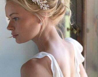 Floral Bridal Headband, Flower Wedding Headband, Pearl Headband, Keshi Pearl Bridal Headband, Wedding Hair Accessory, Bridal Headpiece -7013
