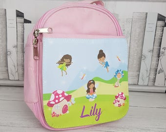 Pink personalised kid's lunch bag /perfect for school - Fairy design