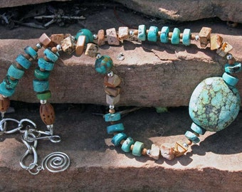 KACHINA Necklace (Turquoise, Sandalwood, Sterling Silver, Picture Jasper)