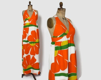 "Vintage 60s Novelty Print Halter DRESS / Vintage 1960s Bright ""He Loves Me"" Floral Malia Maxi Sun Dress"