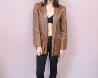 Vintage Brown Leather Jacket //vintage 80s ultra soft brown leather blazer minimalist classic boxy fit //size-see measure