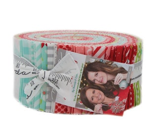 Vintage Holiday Christmas Fabric Jelly Roll by Bonnie and Camille for Moda Fabrics