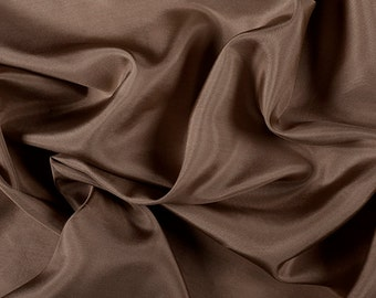 "45"" Wide 100% Silk Crepe de Chine Mocha Brown by the yard (1200M185)"