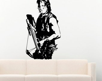 Cool Movie Wall Decals Daryl Dixon from The Walking Dead with Crossbow Vinyl Decor Stickers Murals MK1984