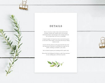 Greenery Wedding Details Card Template | Botanical Wedding Info Insert Template | Printable Wedding Information Card Templett Download PDF