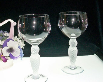 Pair Of HTF Bayel OWL Water Goblets
