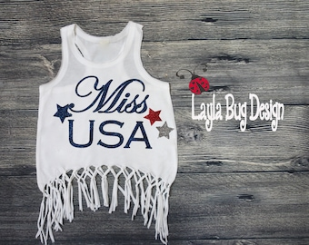 Miss USA fringe top | 4th of July shirt | 4th of July girls outfit| Red white and blue boho top | bohemian tank
