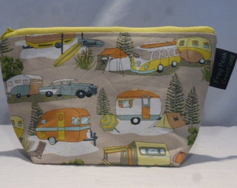 """Cute """"Happy Campers"""" - Notions Pouch - zippered, cosmetic, knitting/crochet project bag"""