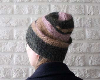 Handmade alpaca merino wool knit hat with stripes, Gold Pink Green slouch beanie, Unique knitted hats for women