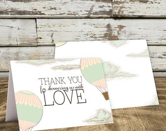 Hot Air Balloon Thank You Card, Baby Shower Thank You, Bridal Shower Thank You, Greatest Adventure Thank You Card, Vintage, Travel