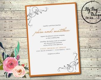 Peach and Gray - Wedding Invitation
