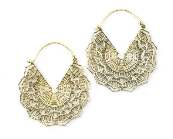 Mandala Brass Earrings, Silver Mandalas, Large Earrings, Tribal Brass Earrings, Festival Earrings, Gypsy Earrings, Ethnic Earrings