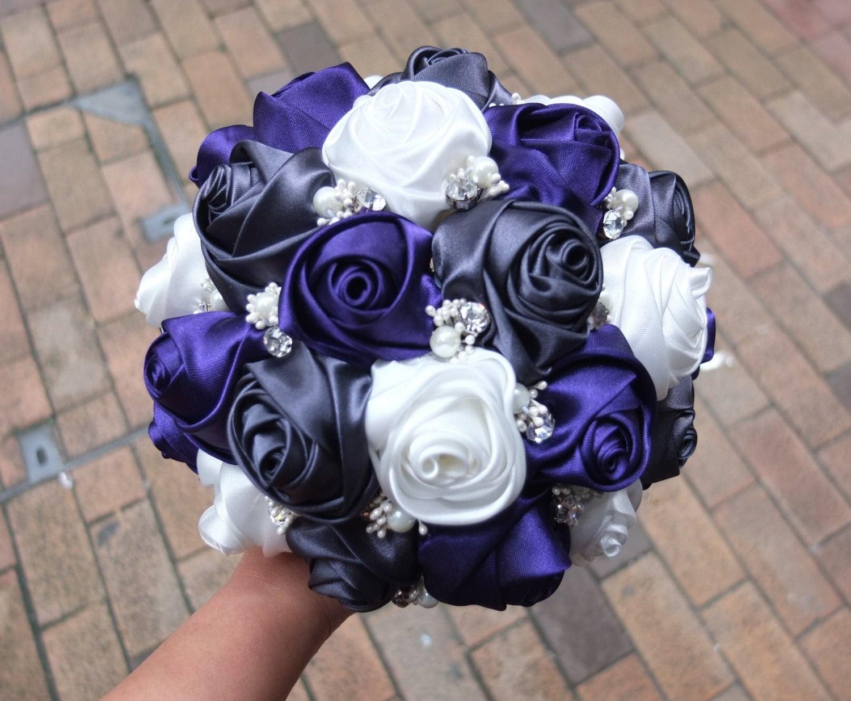Purple & Dark Gray and White Rose Handmade Ribbon Rose